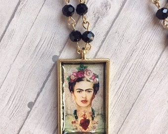 Frida - Frida Kahlo black beaded necklace - art necklace - altered art necklace - swarovski crystal