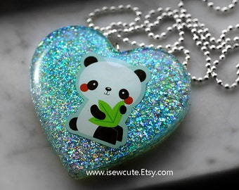 Resin Jewelry, Panda Necklace, Statement Necklace, Blue Glitter Heart Pendant, Kawaii Jewelry, Over the Top Fashion Gift for Her, isewcute