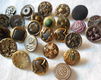 Lot of 26 ANTIQUE & VINTAGE Small Metal BUTTONS  S26