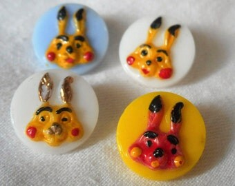 Set of 4 VINTAGE Painted Rabbit Bunny Heads on Glass BUTTONS