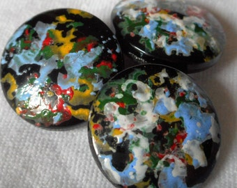 Set of 3 VINTAGE Color Spatter Painted Black Glass BUTTONS