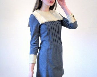 Mimi, 60s Gray Wool Mini Dress, Mod Mini Dress, Micro Mini Dress, Twiggy Dress, Vintage Lord & Taylor 60s Go Go Dress, XS