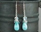 Larimar Earrings, Blue Zircon White Topaz Sleeping Beauty Turquoise Grey Moonstone gemstone cluster 925 Silver wire wrap earrings
