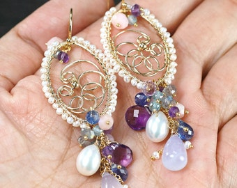 Fresh Water Pearls, Chalcedony, Pink Opal, Amethyst, Kyanite gemstone chandelier earrings, 14k Gold Filled hooks ... ADORINDA Earrings