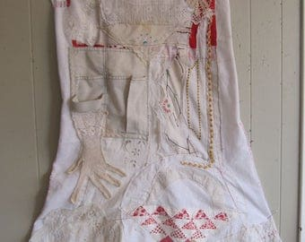 Altered CARPENTER APRON Antique Collage patchwork maxi dress -Embroidery Wearable Folk Art -Vintage Fabric Linens Textile Crochet - mybonny
