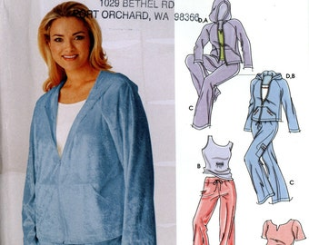 Simplicity 5312 Lounge Wear Jogging Suit Hooded Sweatshirt Velour Jacket Tank Top Pants Size 18W 20W 25W 24W Uncut Sewing Pattern 2003