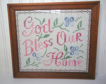 Vintage Completed Cross Stitch, God Bless Our Home, Handstitched and Framed