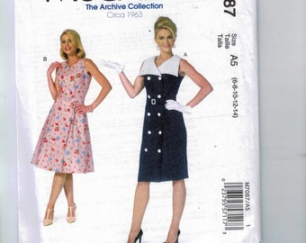 REPRODUCTION Misses Sewing Pattern McCalls M7087 7087 MP409 Archive Collection 1960s Style Dress Size 6 8 10 12 14 16 18 20 22  Multi UNCUT