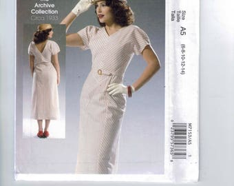 REPRODUCTION Misses Sewing Pattern McCalls M7153 7153 Archive Collection 1930s Style Day Dress Size 6 8 10 12 14 16 18 20 22  Multi UNCUT
