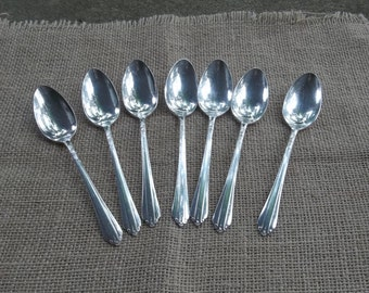 7 Antique Silver Plate Spoons CLARIDGE Vintage Flatware 7 Dessert Sponns SIlverplate Flatware Wedding Decorations Table Decor French Country