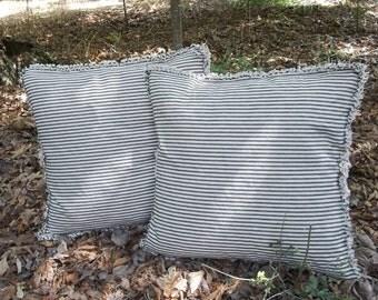 Pair Ticking Pillows Striped Pillows Shams Custom Sizes Fabrics Decorative Pillows French Country Farmhouse Throw Pillows