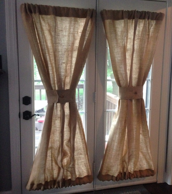 burlap sheers french door drapes burlap curtains french. Black Bedroom Furniture Sets. Home Design Ideas