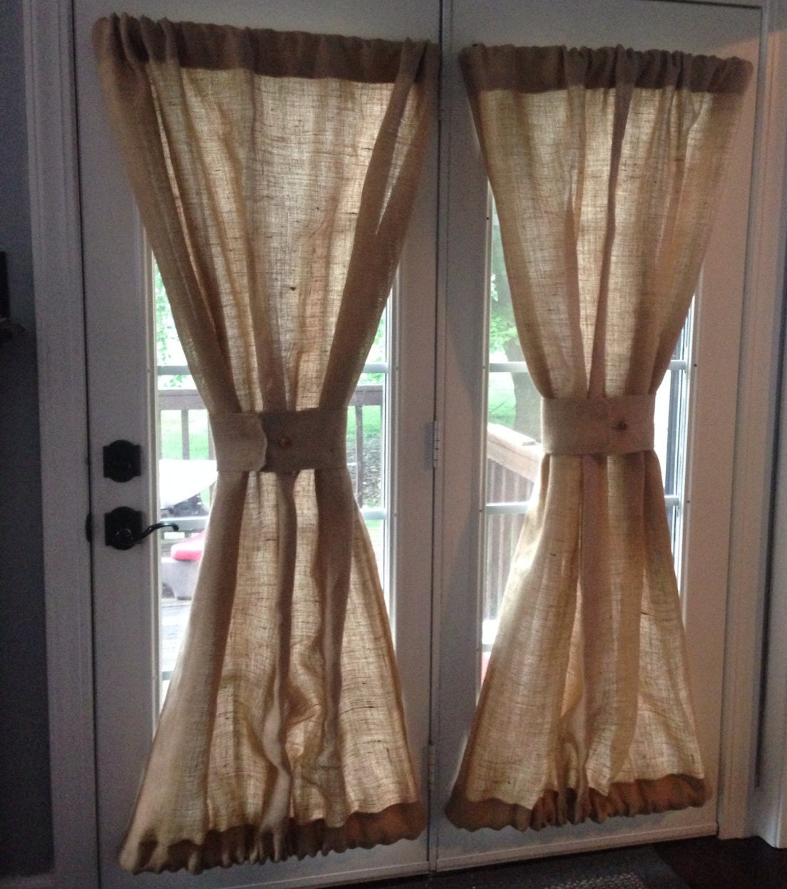 Rod Pocket Door Curtains - Burlap sheers french door drapes burlap curtains french country window treatment burlap panel lined burlap drapes