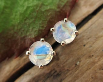 Rainbow Moonstone Screw Back Studs, Platinum or 14k Gold Screw Back Earrings with Moonstone, White Gold or Yellow Gold Screwbacks
