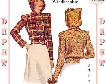 Vintage Sewing Pattern Reproduction Ladies' 1940's Windbreaker Jacket with Detachable Hood #3079 - PAPER VERSION