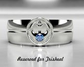 RESERVED for Trisheal- Star Wars Rebel Alliance 14k White Gold Wedding Ring, Size 9, AAA Blue Sapphire, Mens Sapphire Ring