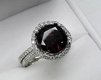 AAA Red Pyrope Garnet 10mm Round  3.57 Carats 14K white gold Diamond Halo Wedding Bridal set .60 carats of diamonds 2361