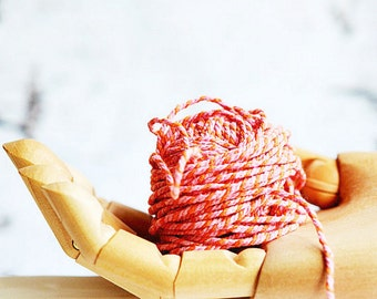 Striped Bakers Twine {12ply} Cotton | Orange + Pink Twine | 2 Colour Twine | DIY Twine Supplies | Fun Summer Gift Wrap