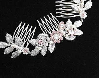 Blush Pink Bridal Headpiece Vintage Rose Hair Vine Hair Accessories Morganite Hair Accessory Decorative Hair Comb  Boho Leaf Comb STACEY