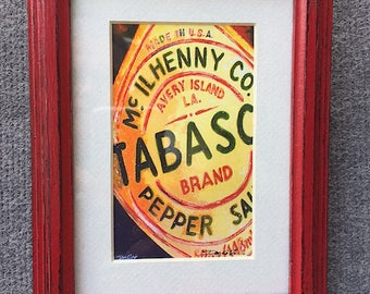 """Tabasco Sauce Art 6.25 x 8.25""""Red Distressed Framed Matted Print Signed"""