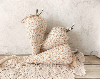 Shabby Rustic Orange and Cream Flower Carrot Fabric Tattered Bowl Fillers