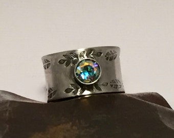 Sterling Silver Ring Thick Band Hand Stamped with Mystic Topaz Cabochon