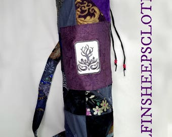 Yoga Mat Bag Embroidered Patchwork Spooky Owl Design