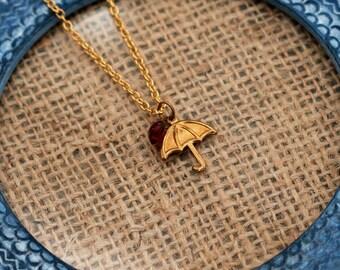 Umbrella Necklace, Weath Charm Necklace, Cute Charm Necklace