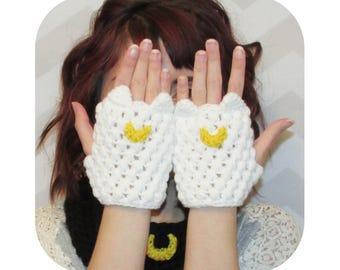 Kawaii adorable sailor moon artemis anime cat fingerless gloves