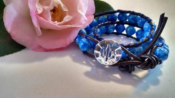 Ice Blue Leather Wrap Bracelet with Royal Blue Glass Beads and Crystal Button Closure Boho Chic Country Girl Handmade Jewelry