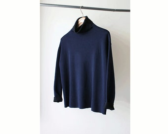 1990's Two Tone Navy Black Turtle Neck Sweater
