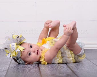 Baby Girl 1st Birthday Outfit,Petti Lace Romper,Ruffle Rompers ,Baby Romper,Yellow Grey and Yellow Birthday Outfit,Yellow Petti Rompers