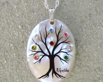 "Family Tree Necklace ""Medium Oval"" (8 stone maximum)"