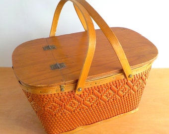 Vintage Red Man Picnic Basket • 1970s Woven Wood and Cardboard Picnic Basket