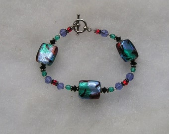 Lovely Colorful Foiled Art Glass & Crystal Toggle Bracelet