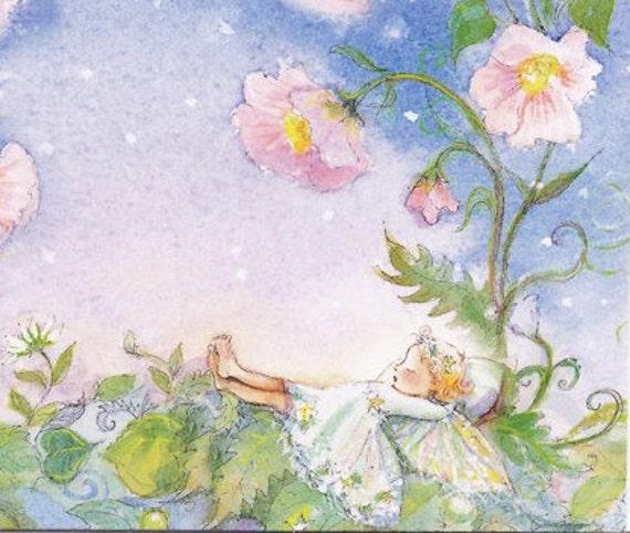 Set of 5 Sleeping Fairy Cards in Periwinkles (light hair version)