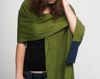 Shawl Women's Scarf Ligth Merino Cotton and Viscose Striped Wrap Summer Fashion Green Navy Blue Echarpe Schal Stripes Summer Cover-up