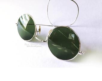 Shuron Non RX Sunglasses 1930's Silver Gilded Metal Round Prescription Friendly Frame Coil Temples Vintage Steampunk Gothic Eyewear Glasses