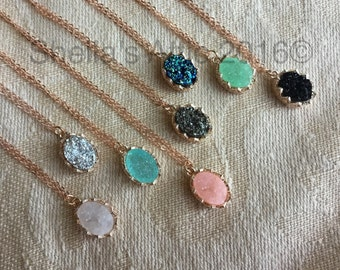 Rose gold Druzy Necklace, rose gold necklace, rose gold druzy, Faux Druzy Necklace, Druzy Pendant, Boho Jewelry, Druzy Necklace