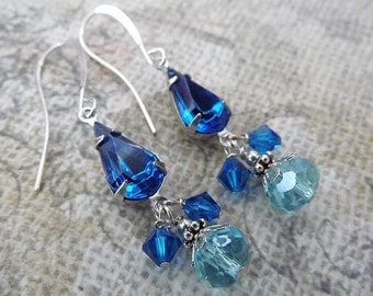 Brilliant Blue Vintage Rhinestone Silver Dangle Earrings