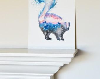 Skunk Spirit Animal ORIGINAL Watercolor 9x12