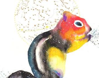 Chipmunk Spirit Totem Animal ORIGINAL Watercolor 9X12