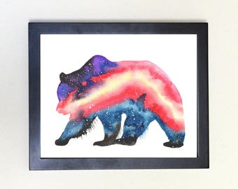 Grizzly Bear Galaxy Spirit Totem Animal Art Print Watercolor 8x10