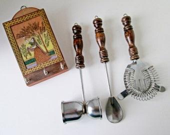 Hanging Bar Tools, Wood Barware Set, cocktail utensils, wall hanging barware mod rustic design, Danish Girl Wood with Gold Inlay