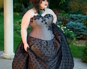 READY to Ship - Silk Lace Overlay Skirt ONLY -Black Floral Goth Princess- Steampunk Gothic Fairy - XLarge