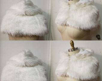 SALE- White Caplet- Winter Cape Faux Fur Long Hair - Ivory Wedding Wonderland Victorian- READY to Ship