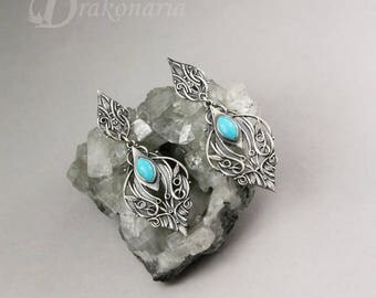 ONLY ONE PAIR with Sleeping Beauty turquoises - Sindarin - Narn - elven earrings, silver, limited collection