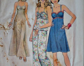 Vintage 70's Simplicity 6387 Sewing Pattern, Misses' Pullover Dress in Two Lengths, Top & Pants, Size 14, 36 Bust, Uncut FF, Retro 1970's