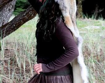 Coyote headdress - full hide coyote headdress totem dance costume for shamanic ritual and dance