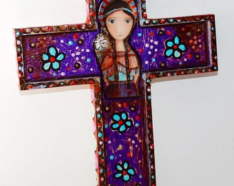 Saint Kateri -  Wall Cross Mixed Media Art by FLOR LARIOS